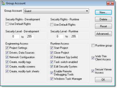 Web Studio Help dialog security groupaccount Creating and configuring groups