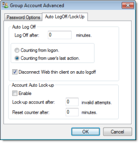 Web Studio Help dialog security groupaccount advanced autolog Creating and configuring groups