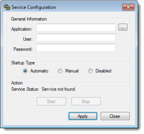 Web Studio Help dialog serviceconfiguration Run a project as a Windows service
