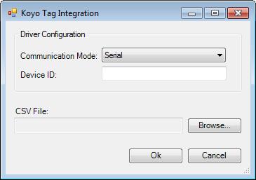 Web Studio Help dialog tagintegration source koyo AutomationDirect Koyo