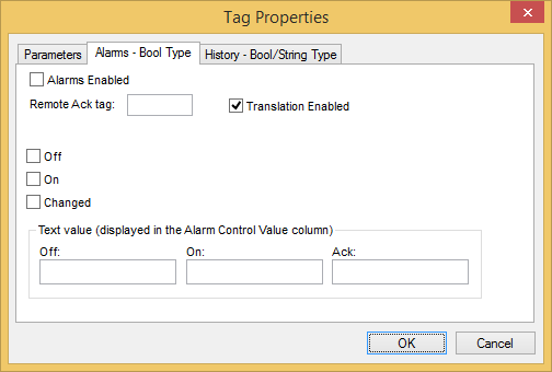 Web Studio Help dialog tagproperties alarms bool Tag Properties: Alarms