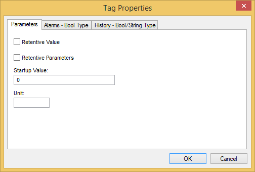 Web Studio Help dialog tagproperties parameters bool Tag Properties: Parameters