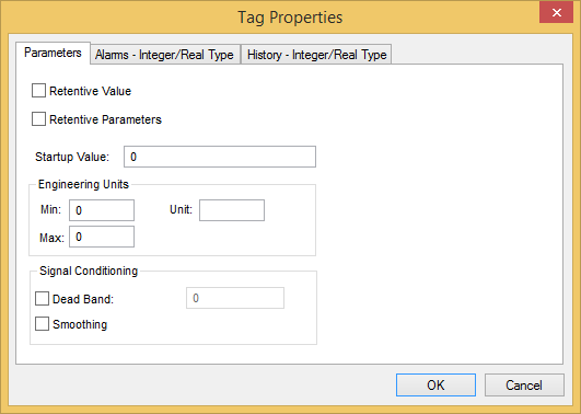 Web Studio Help dialog tagproperties parameters integerreal Tag Properties