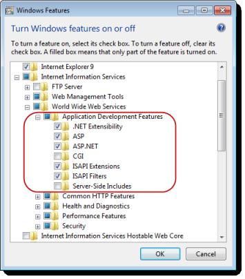 Web Studio Help dialog windowsfeatures iis Configuring the web server