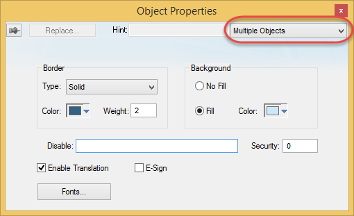 Web Studio Help graphics format multipleobjects different Change the properties of multiple screen objects