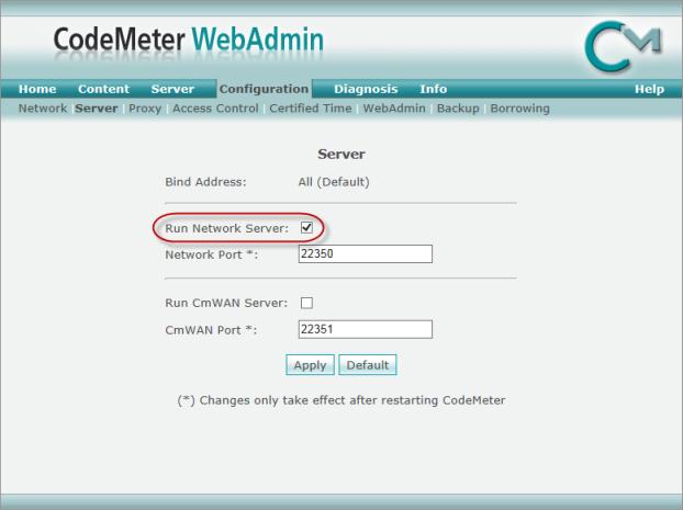 Web Studio Help illus codemeter configserver Configure CodeMeter Runtime to serve licenses