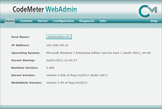 Web Studio Help illus codemeter homepage Configure CodeMeter Runtime to serve licenses