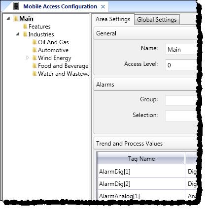 Web Studio Help illus mobileaccess insertarea Insert a new area