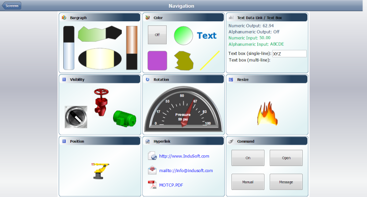 Web Studio Help illus mobileaccess screensexample Use the Screens control
