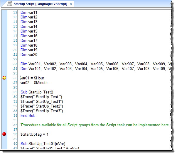 Web Studio Help illus vbscript debugging 3 Step through your VBScript code