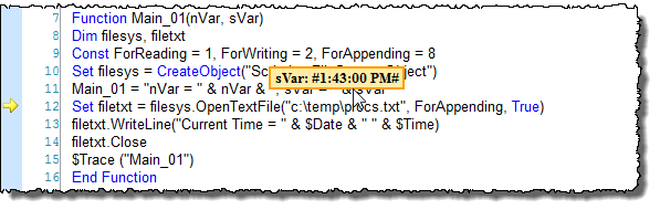 Web Studio Help illus vbscript debugging 5 Run your project in Debug mode