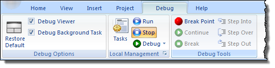 Web Studio Help ribbon debug About the Debug tab