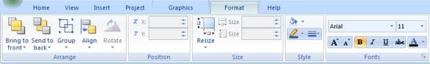 Web Studio Help ribbon format Format tab
