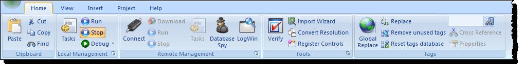 Web Studio Help ribbon home Home tab