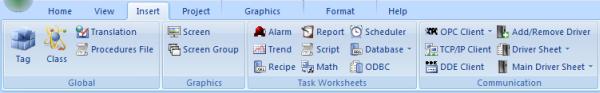 Web Studio Help ribbon insert Insert tab