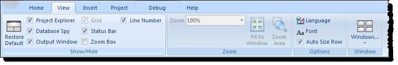 Web Studio Help ribbon view View tab