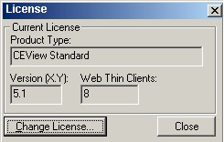 Web Studio Help dialog ceview license Install or upgrade a softkey license for EmbeddedView or CEView (Local)