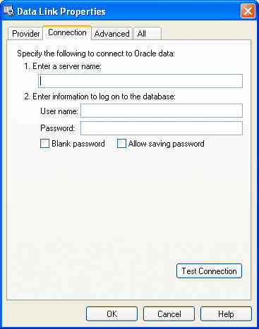 Web Studio Help dialog datalink connect oracle Using ORACLE Databases