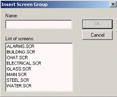 Web Studio Help dialog insert screen group Screen Group Folder