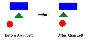Web Studio Help illus obj aligning left Align