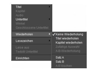 Corel WinDVD rightclick menu Playerfenster
