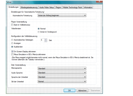 Corel WinDVD setup preferences Voreinstellungen konfigurieren