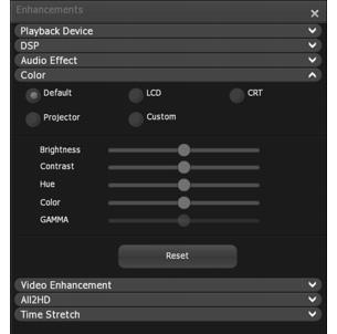 Corel WinDVD enhancements color Adjusting Color