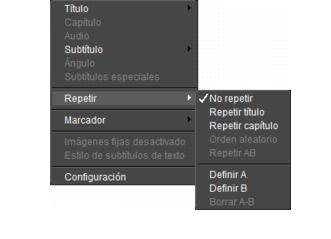 Corel WinDVD rightclick menu Reproductor, panel