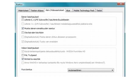 Corel WinDVD bdavsetup Ääniasetukset