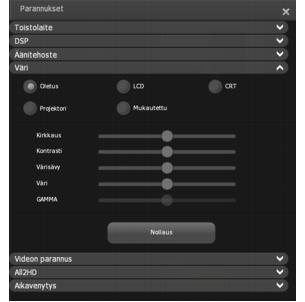 Corel WinDVD enhancements color Värinsäätäminen