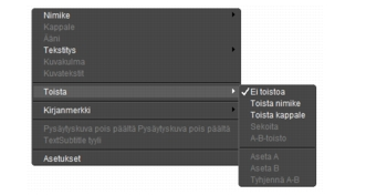 Corel WinDVD rightclick menu Soitinpaneeli