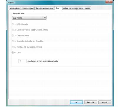 Corel WinDVD setup region Alueasetusten kokoonpano