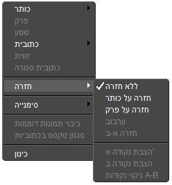 Corel WinDVD rightclick menu מסך נגן