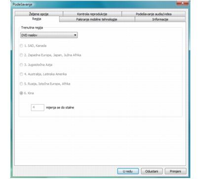 Corel WinDVD setup region Konfiguriranje postavki regije