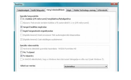 Corel WinDVD bdavsetup Hangbeállítások