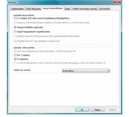 Corel WinDVD setup audio%20video%20setup Hang  és videobeállítások konfigurálása