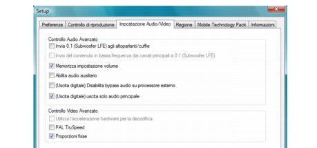 Corel WinDVD bdavsetup Impostazioni audio