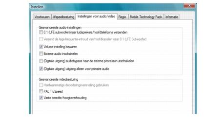 Corel WinDVD bdavsetup Audio instellingen