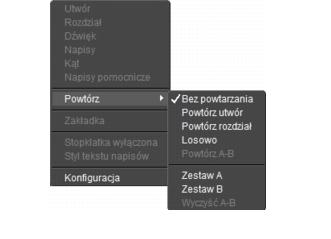 Corel WinDVD rightclick menu Panel odtwarzacza