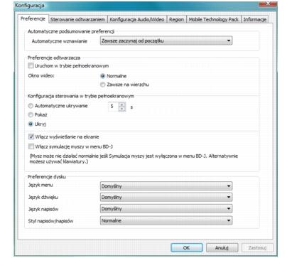 Corel WinDVD setup preferences Konfigurowanie preferencji