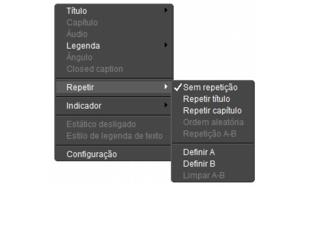 Corel WinDVD rightclick menu Painel do reprodutor