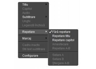 Corel WinDVD rightclick menu Panou Player