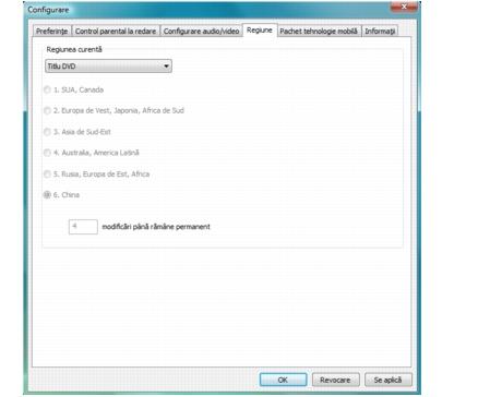 Corel WinDVD setup region Configurarea setărilor Regiune