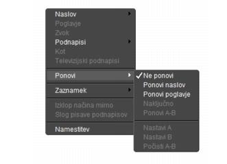 Corel WinDVD rightclick menu Podokno predvajalnika