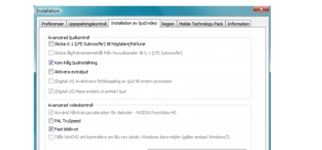 Corel WinDVD bdavsetup Inställning av ljud