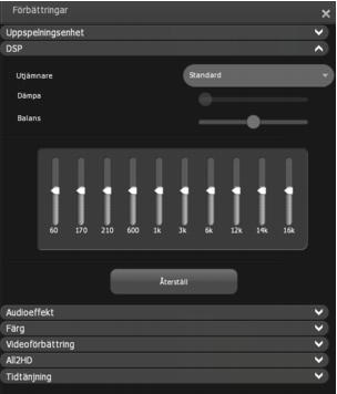 Corel WinDVD enhancements dsp Inställning av DSP