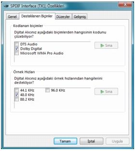 Corel WinDVD bd audio%202 BD ROM için Dijital Ses Çıkışı