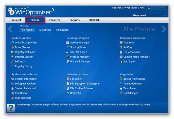 WinOptimizer allemodule.zoom80 Alle Funktionen im Überblick