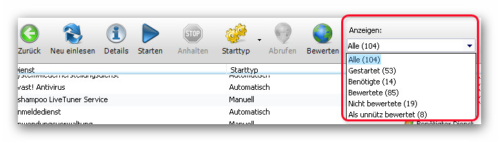 WinOptimizer anzeigen Service Manager