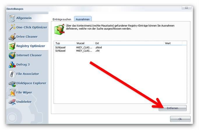 WinOptimizer ausnahme2.zoom80 Einstellungen